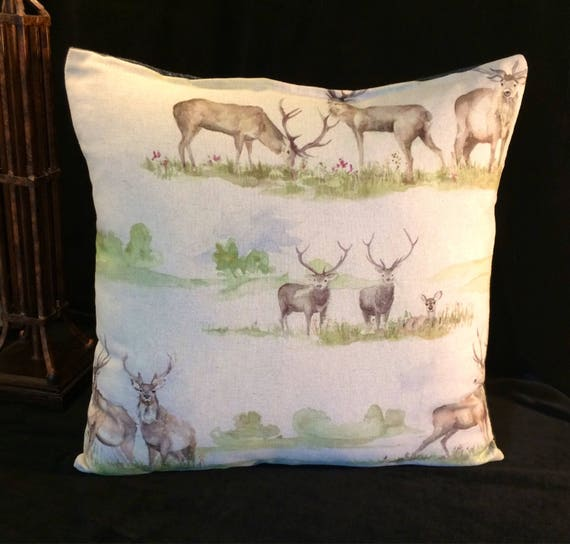 "VOYAGE Moorland Stag and Scottish tweed fabrics, cushion cover in Multi Colourway, 18"" decorative pillow"