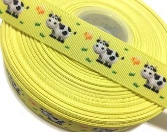 7/8 Cow Ribbon by the Yard, Cow Grosgrain Ribbon, Cow print Ribbon, Farm Ribbon