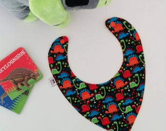 dinosaur dribble bib | reversible bandanda bib | gender neutral baby shower gift | newborn gift | dinosaur baby bib | bamboo cotton baby