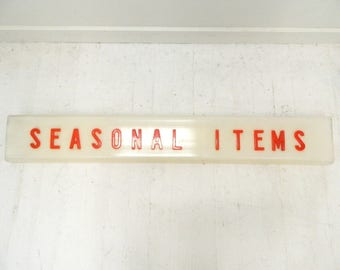 1960s Seasonal Items Sign...White Plastic Sign...Large 4 ft. Long...Red Lettering...Wall Store Front Sign...Home Decor...Retro