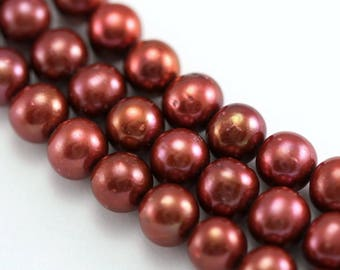 10-11mm Terracotta Red Near Round Freshwater Pearls Beads for Jewellery Making