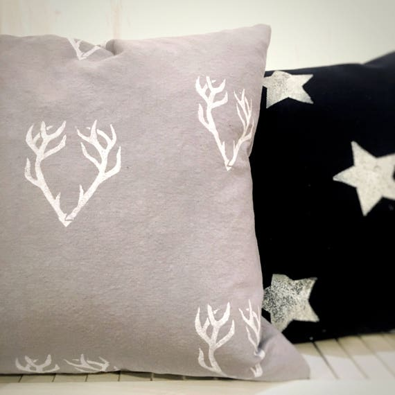 "ORGANIC pillow, cotton canvas, antler design, antlers, grey, gray, 18"" square, cottage pillow, outdoor, organic pillow, rustic pillow, cabin"