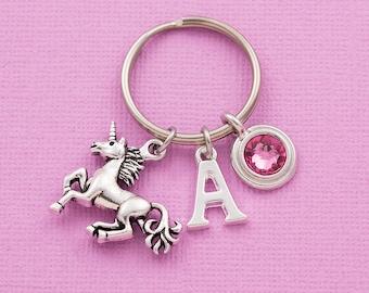Unicorn keychain, unicorn keyring, personalized keyring, initial keychain, swarovski birthstone, unicorn gift, custom keychain, gift for her