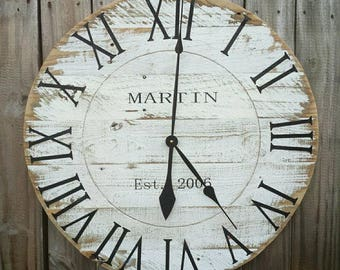 Large Custom Rustic Farmhouse Reclaimed Pallet Wood Clock, Weathered Distressed White