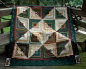 "Christmas Holiday Quilt Throw or Wall Hanging Handmade Log Cabin Custom Quilted  with Flannel Backing 62""x68"" #269"