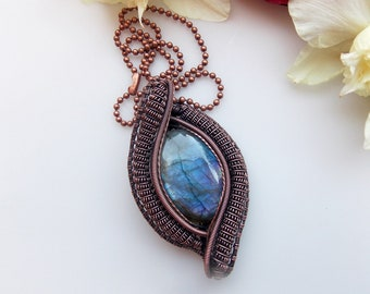 purple labradorite pendant, wire wrapped jewelry, handmade jewelry, wire wrap, wire weave, heady wrap, copper wrap, Melissa Wood Jewelry