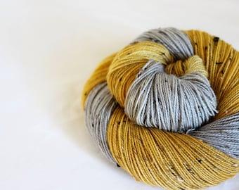 Silver and Gold - Snowfinch - 85/15 superwash BFL/ nylon tweed sock yarn