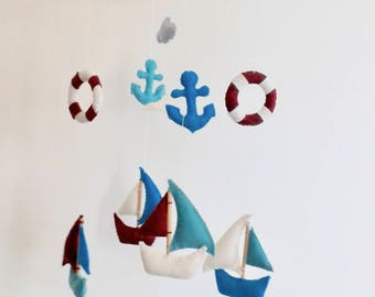 nautical mobile, felt baby mobile, nursery decor, baby shower, nursery mobile, gift for new born, baby boy mobile, kids room decor