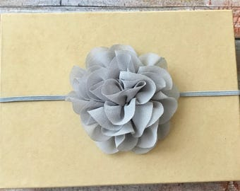 Gray Headband/Gray Baby Headband/Infant Headband/Newborn Headband/Baby Girl Headband/Flower Headband/Baby Headbands/Toddler Headband/Baby