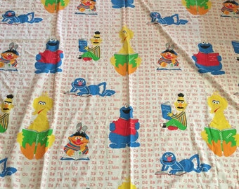 Vintage Sesame Street Reading Alphabet Twin Flat Bed Sheet