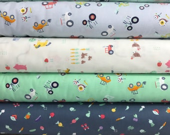 Bundle of 6 Fabrics from the Farm Life Collection by Dear Stella, Chickens, Tractors, Veggies, Farm Animals, Farm Fabric