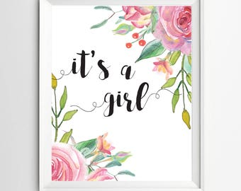 It's A Girl Printable Bohemian Floral Boho Chic Baby Shower Sign Pink Floral Shower Decoration Girl Baby Shower Poster Pink Table Signs