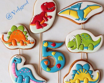 Cookies gingerbread dinosaurs for happy birthday