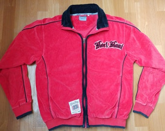 Karl Kani jacket, vintage red velour hip hop jacket, 90s hip-hop clothing, 1990s hip hop college jacket, OG, gangsta rap size S Small