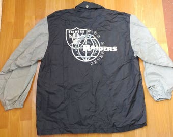 Oakland Raiders jacket, Campri Teamline, vintage Los Angeles Raiders coat, football, NFL 90s hip-hop clothing 1990s hip hop, size L Large