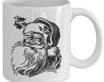VINTAGE SANTA CLAUS Smiling Face Mug - Merry Christmas Happy Holidays Gift - 11 oz white coffee tea cup