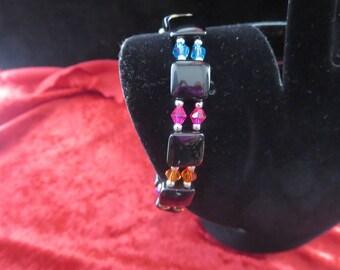 Bracelet sparkling with onyx and swarovski crystal beads