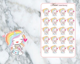 Happy Mail Unicorn Planner Stickers
