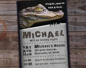 Alligator birthday invitation, Reptile birthday invitation, Reptile birthday invites, Alligator birthday party, reptile birthday, Gator