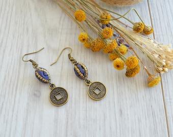 Tibetan Nepalese Indian Coral Beaded Arrow earrings, Brass Gypsy Earrings, Bohemian Boho Ethnic Tribal dangle earrings, Free people jewelry