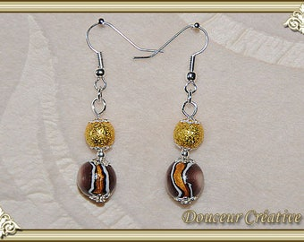 Dangle earrings golden brown 104032