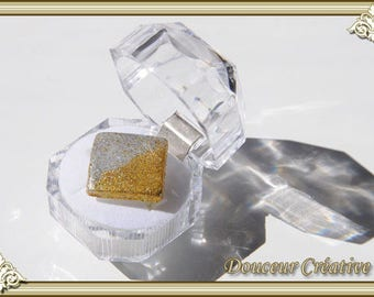 Square Silver Gold Ring 102011