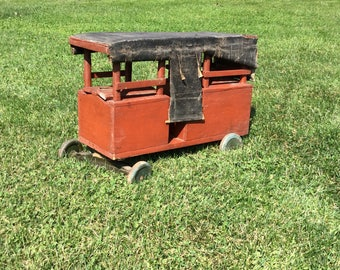 Antique primitive Folk Art pull toy baker coach wood hand made wagon