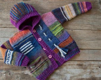 reserved, children patchwork jacket with hood, hand knitted, wool, 116/122