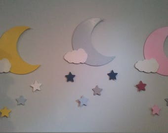 Moon and Stars Nursery wall Decor