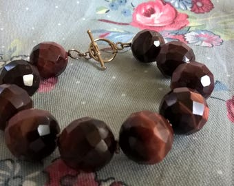 Handmade 15 MM Faceted  Red Tigers Eye Beaded Bracelet