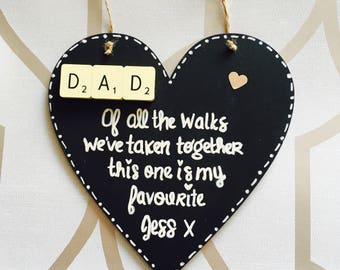 Father of the Bride Dad Wedding Scrabble Heart Thank You