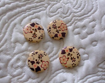 Wood patterns flowers 25 mm 4 hole round button