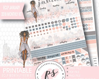 Fashionista (Dark Skin Tone) January 2018 Monthly View Kit Printable Planner Stickers (for ECLP) (JPG/PDF/Silhouette Compatible File)
