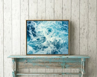 Ocean Waves Wall Print, Printable Poster, Modern Wall Art, Blue Water Print, Instant Download , Coastal Wall Art