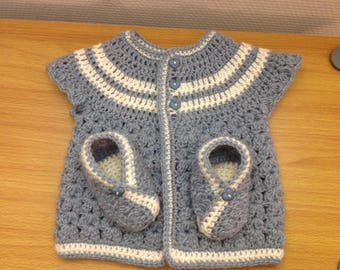 Life jacket Baby Slippers grey blue and Beige LAYETTETaille 1 month