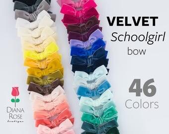 Velvet bow set, Baby headband, Nylon headband or clip, Handtied schoolgirl hair bow, Soft classic dainty, Girl newborn toddler CHRISTMAS