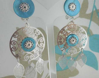 Earring clip Thai turquoise leaves (made in France)