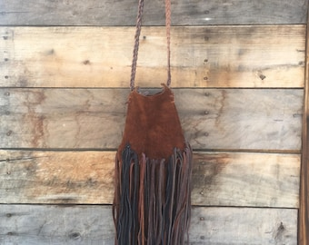 Brown Italian Leather pouch with alot of fringe