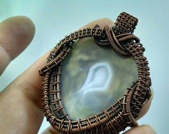 Agate Slice OOAK Copper Wire Wrapped Pendant/Amulet, Wire Wrap, Copper Jewelry