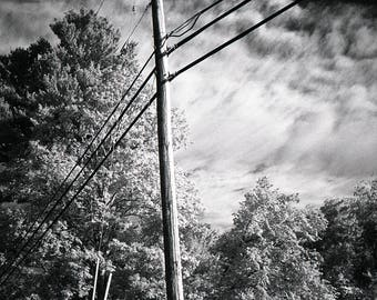 Pole Hugging The Sky.  Limited Edition Signed Black and White Prints.  Infrared Film Photography.  Printed in the Darkroom.
