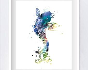 Koi Fish Art Print Koi Fish Wall Art Poster Nature Abstract Watercolor Painting Tattoo Fish Art Illustration Gift For Mom Digital Download