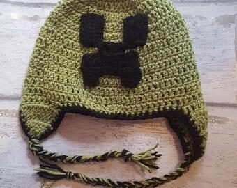 Minecraft Creeper Hat, Character Hat, Crochet Hat, Creeper Beanie, Minecraft Beanie, Earflap Hat,