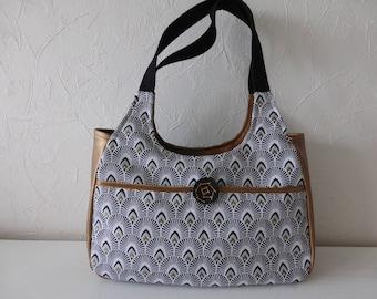 Hand bag, woman, handmade, shoulder, fabric pattern, gold, ethnic, trendy