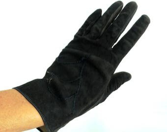 Black leather gloves size Small womens real leather genuine suede unlined fall fashion gloves vintage size 6 1/2 inch 70s 80s