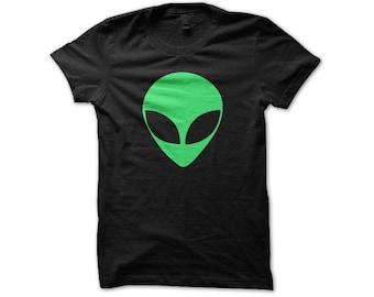 Green Alien Shirt   Music Festival Clothing   Rave Top   UFO Shirt   I Want To Believe   Aliens Exist Shirt   Sci Fi Geek Shirt