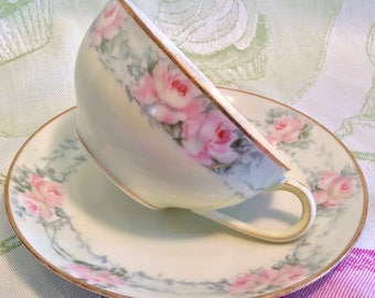 Pretty in Pink-Nippon Hand Painted Iridescent Teacup and Saucer