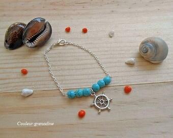 Bracelet turquoise charm beads rudder