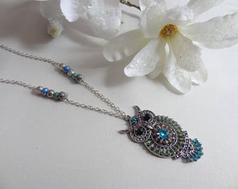 Necklace pendant blue green OWL metal beads and rhinestones