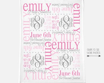 Personalized Baby Blanket, Newborn Swaddle, Baby Girl Baby Boy Birth Stats, Infant Toddler Nursery, Receiving Blanket, Monthly Photo Blanket