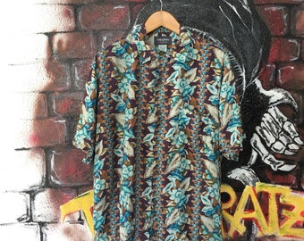 Vintage Yellow Tabby Hawaii Aloha Shirt Rayon